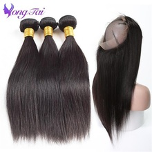 Closure Bundles Frontal Human-Hair Hair-360 Straight Brazilian with Non-Remy Yongtai
