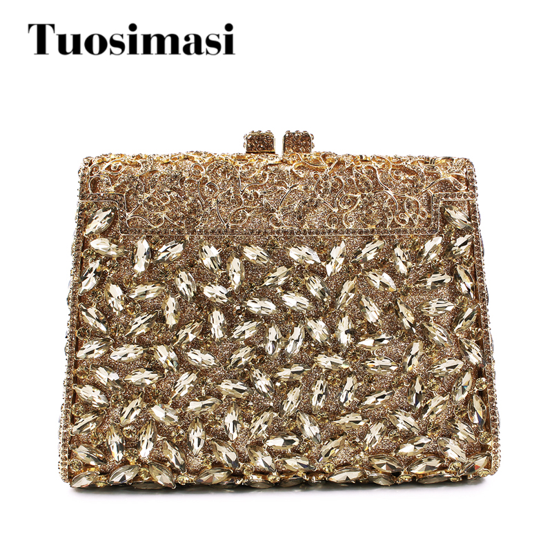 все цены на Dazzling Gold Crystal Women Crystal Clutches Handbag Metal Evening Bags Minaudiere Ladies Party Purse Wedding Clutch Bridal Bags онлайн