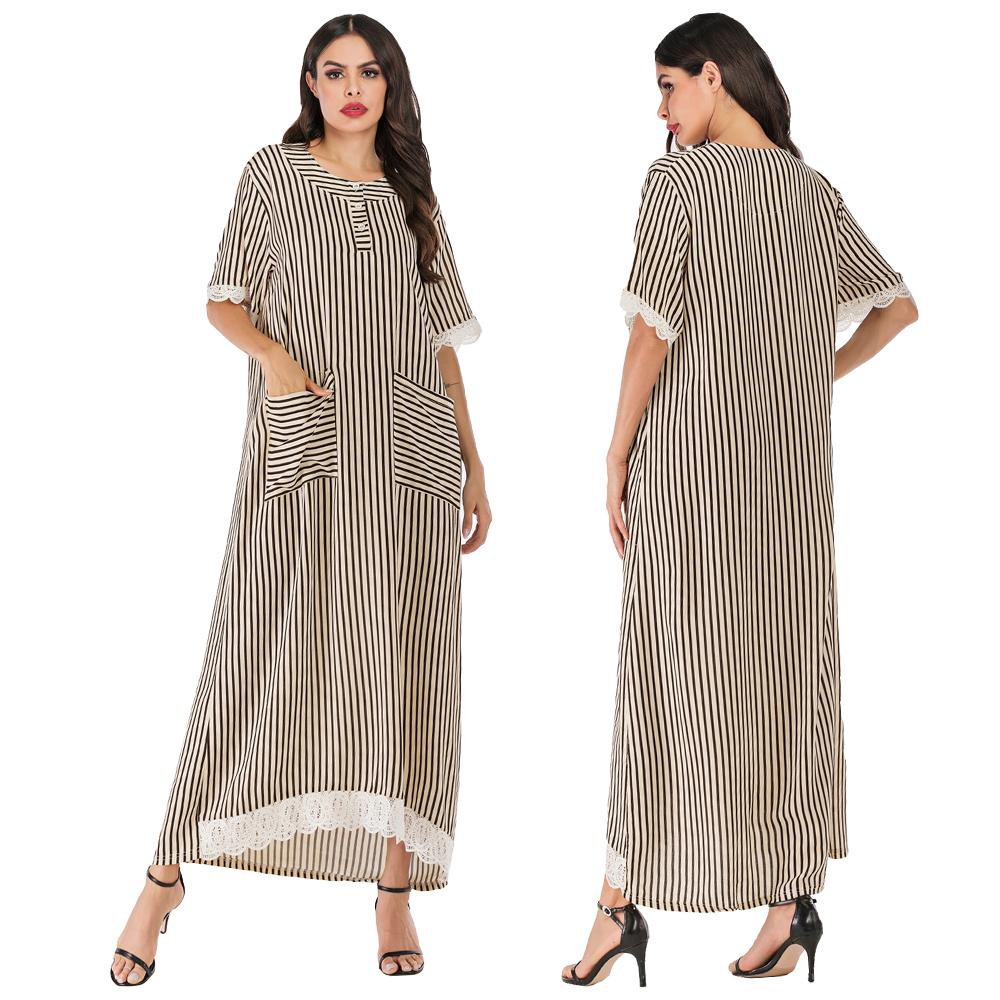 Casual Women Summer Dress Stripe Long Dress Ladies Loose Short Sleeve Kaftan Pockets Muslim Abaya Jilbab Dubai Dress O-neck New