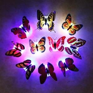 Image 3 - 10 cái/lốc Màu Bướm Dán Tường dễ dàng lắp đặt đèn ngủ Nhà sống Kid phòng Fridage trang trí phòng ngủ L