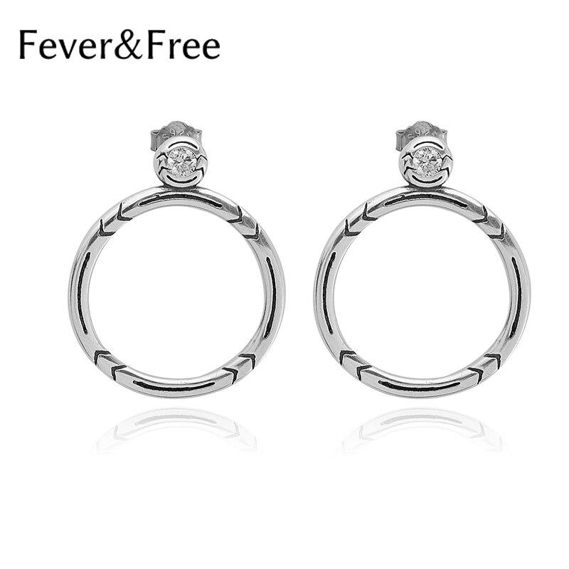 Fièvre & gratuit grand cercle argent boucles d'oreilles femmes argent 925 mode goujons boucles d'oreilles strass Style Simple bijoux tendance fille cadeau