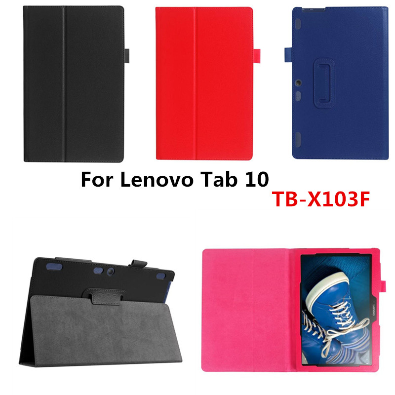 Luxury Lichee Folio Book PU Leather Case With Magnetic Folio Stand Cover For Lenovo Tab 10 TB-X103F X103F 10.1'' Tablet PC ultra thin slim stand litchi grain pu leather skin case with keyboard station cover for lenovo ideapad miix 320 10 1 tablet pc