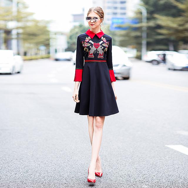 Star Fitted Office Vintage Elegant Black Embroidery Dress