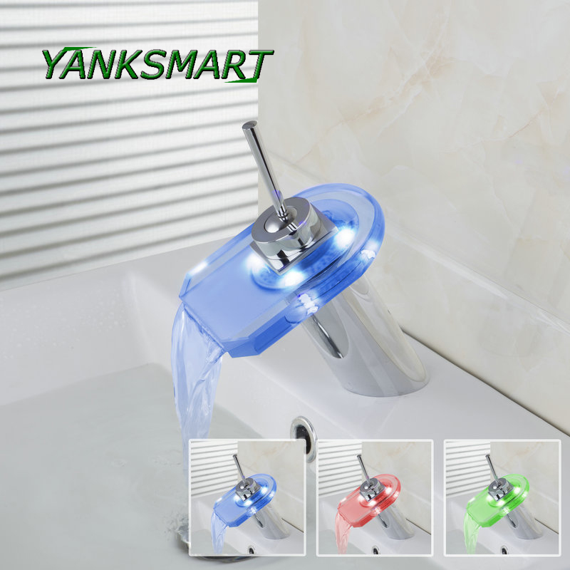 YANKSMART waterfall LED bathroom vanity Mixer Tap Chrome Bathroom Faucets Mixers Taps Glass Bathroom Basin sink Faucet