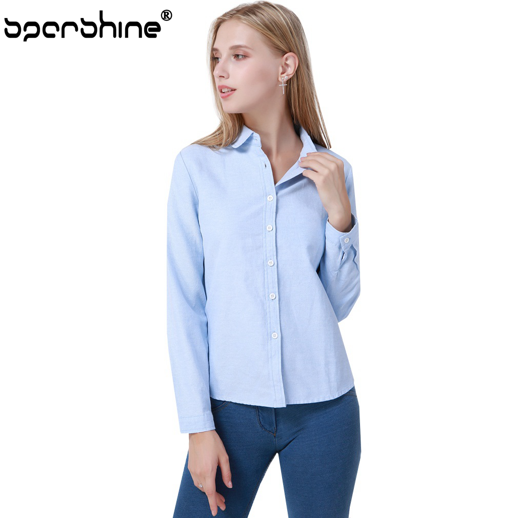 Women Blouse 2018 New Casual Long Sleeve Cotton Bl Oxford White Office Shirts Excellent Quality Blusas Plus Size Lady Tops