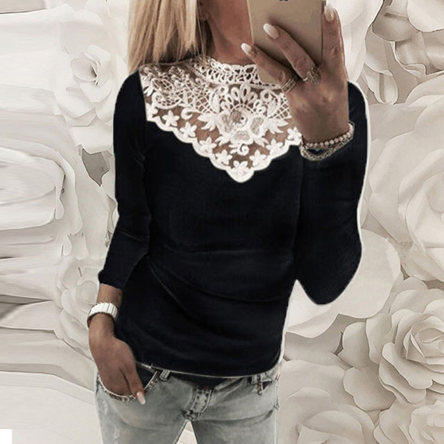 Top Fashion 2018 ZANZEA Summer Women Casual Solid O Neck Long Sleeve Lace Croceht Patchwork Slim Stretchy Party Blouse Shirts