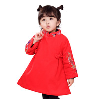 QHamThim Chinese Style Princess Dress Baby Girl Holiday Dress 2017 Brand Tunic Dress Kids Clothing Cotton