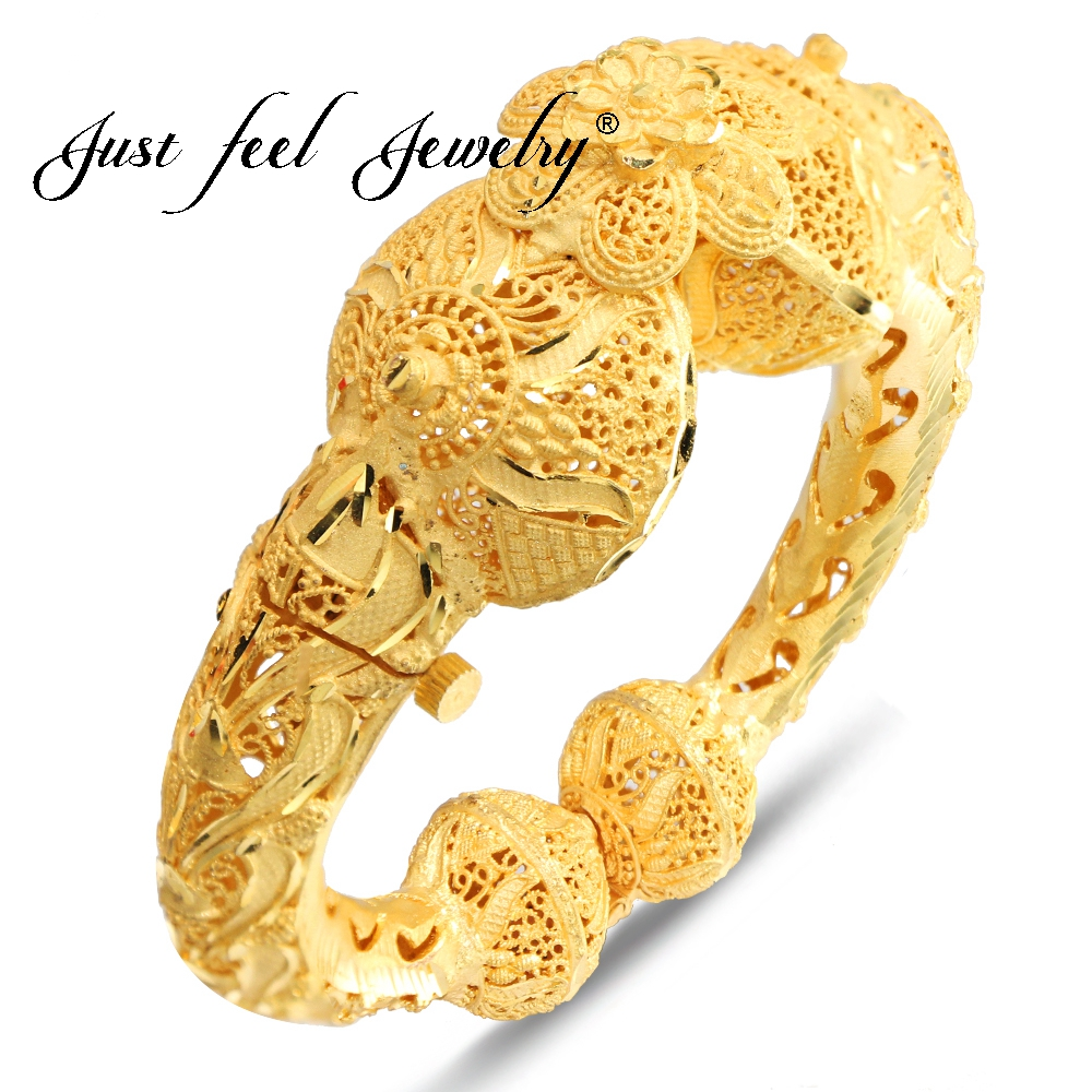 JUST FEEL India Brass Openable Screw Bracelet Bangle Flowers Arab Ethiopian Africa Dubai Gold Color Bangle Jewelry Gift