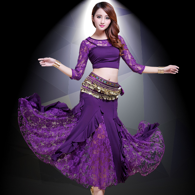 2019 New Belly Dance Costumes Belly Dancing Skirt Bollywood Practice Permance Stage Wear Top, Belt, Skirt 8 Colors for chosen