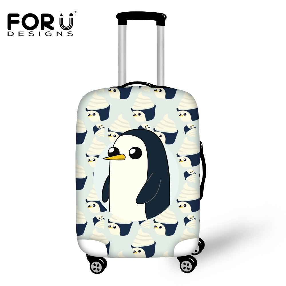 FORUDESIGNS Cute Animal Penguin Luggage Protective Cover Elastic Travel Suitcase Cover For 18-30 Inch Trolley Case Rain Cover