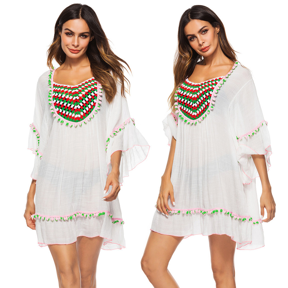 Beach Coverups For Women Wear Swimsuit Cover Up Tunic Women's Summer Lace New Sexy Leaf Long Sleeve Green Color Ball P1863