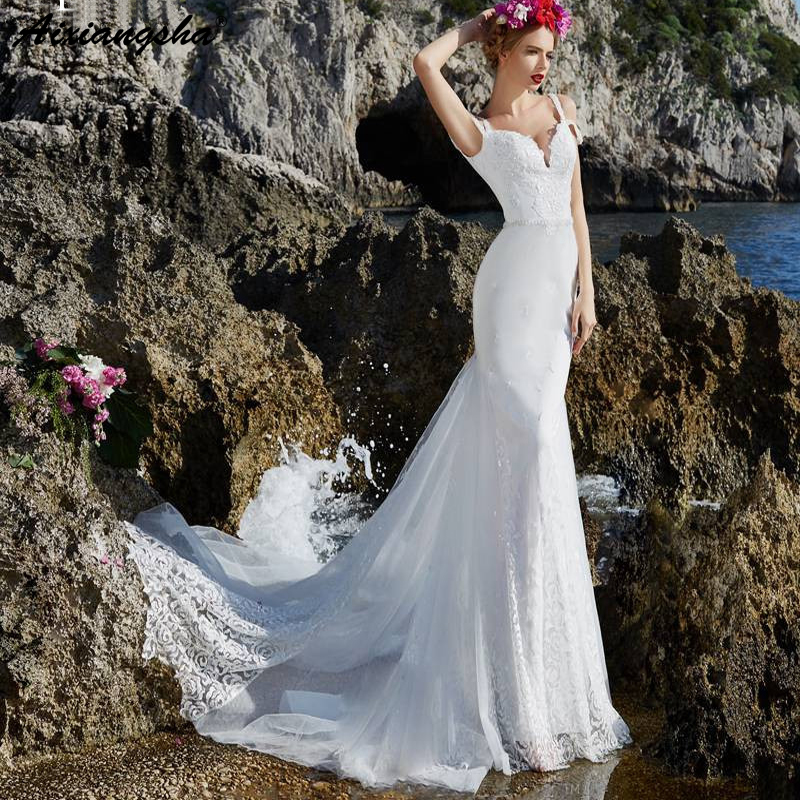 Cheap White Ivory Wedding Dresses Mermaid Lace Appliques: White Ivory Mermaid Wedding Dress 2019 Lace Appliques