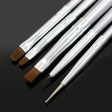 5X Silver Tone Nail Art UV Gel Design Brush Painting Pen Manicure Tips Tools Set  Wholesale 6F33