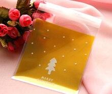 300pcs Yellow Christmas Cellophane Bag Cute Biscuit Plastic Party Favor Bag(Hong Kong)