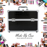 Large Storage Box Make Up Case Cosmetic Organizer Box for Make Up Tools Lockable Black Containing Makeup Organizer Box