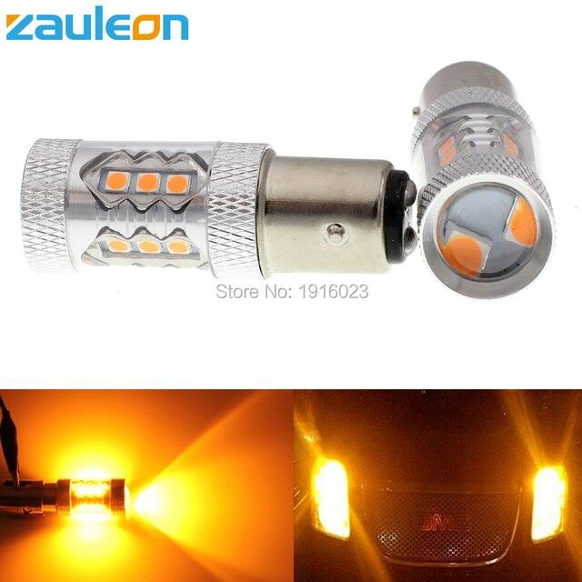 Zauleon 2 stks 1157 P21/5 W BAY15D 80 W High Power Geel Amber LED 760 lumen Auto Richtingaanwijzer Parking Lamp Auto Vervangen licht