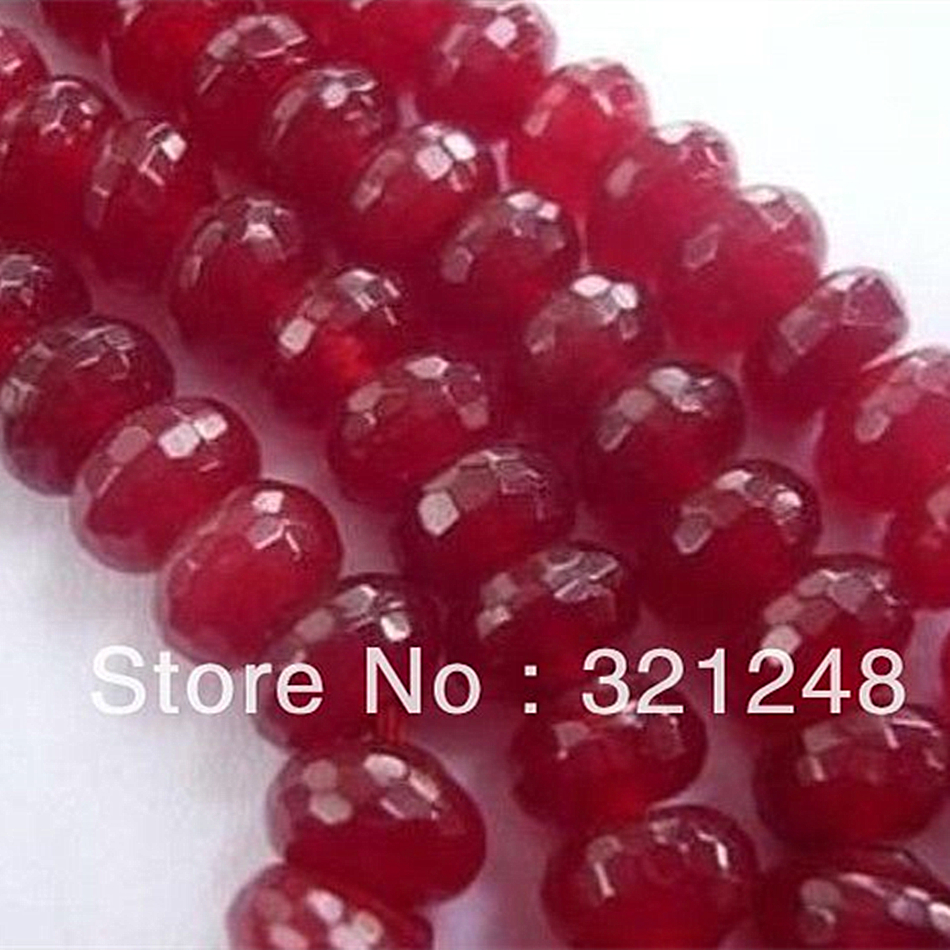 """5x8mm Faceted Red Tourmaline Gemstone Abacus Rondelle Loose Beads 15/"""""""