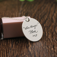 Signature Customized words Disc Necklace Stamped Signature Personalized Memorial Necklace for Mom