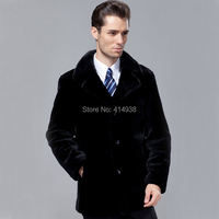 2013 Popular Black Statehood 100 Guaranteed Real Sheepskin Wool Genuine Leather Clothing Male Fur Coat Clothing