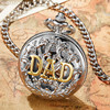 Luxury Silver DAD Hollow Mechanical Pocket Watches Vintage Hand Wind Pocket Fob Watches For Men Chain
