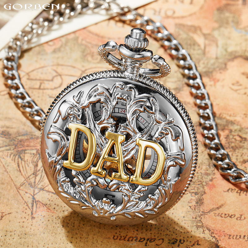 Luxury Silver DAD Hollow Mechanical Pocket Watches Vintage Hand-Wind Pocket Fob Watches For Men Chain Necklace Father's Gifts loft style iron edison wall sconce industrial lamp wheels vintage wall light for home antique indoor lighting lampara pared