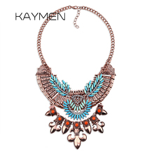 цена на Fashion Bohemia Style Leaf Shape Vintage Statement Coin Necklace for Women Antqiue Golden Plated Pendant Choker Necklace 1431