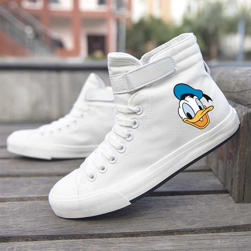 Donald Duck and His Friends Mickey Funny Cartoon Printing High Top Canvas Uppers Sneakers College Fashion Leisure time Shoe
