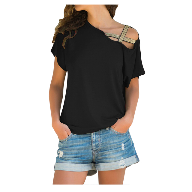 New Style Glittery Cross Shoulder Detail Short Sleeve Irregular Tee Summer Women's Sexy Camiseta Feminina Vintage T-shirt