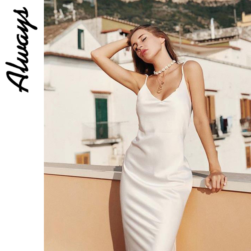 Awayss womans summer slip silk <font><b>dress</b></font> white satin <font><b>dress</b></font> elegant ladies work slit dressslit v neck <font><b>sexy</b></font> <font><b>dress</b></font> <font><b>5xl</b></font> image