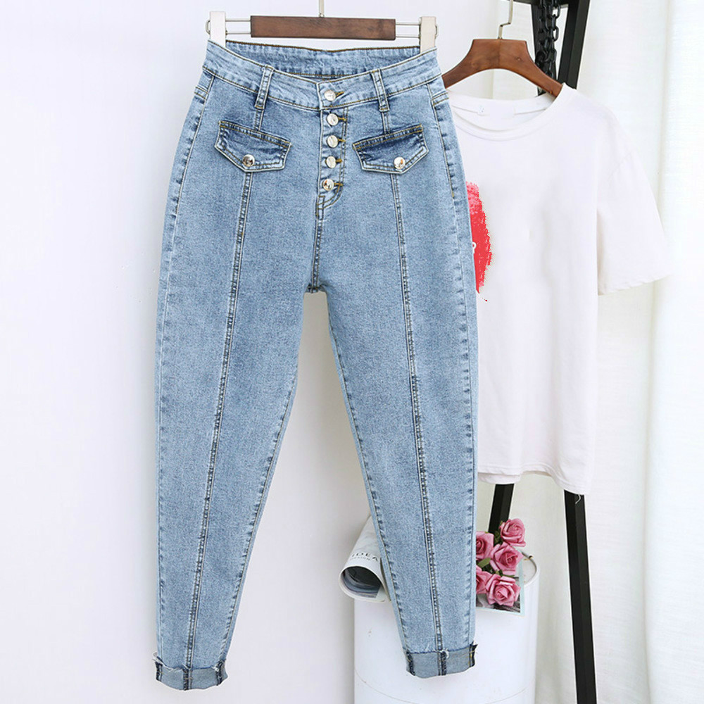 2020 Spring Summer Boyfriend Harem Denim Pants Fashion Women High Waist Female Autumn Mom Jeans Pantalones Mujer Plus Size 5XL