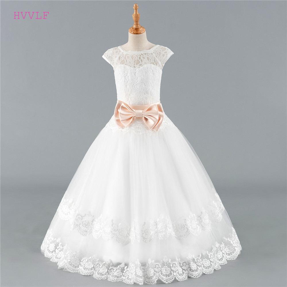Ivory 2019 Flower Girl Dresses For Weddings Ball Gown Cap Sleeves Tulle Lace Bow Long First Communion Dresses For Little Girls