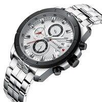 Full Steel Wristwatch Mens CURREN 2019 Top Brand Luxury Sports Watch Men Fashion Watches with Calendar for Men Black Male Clock