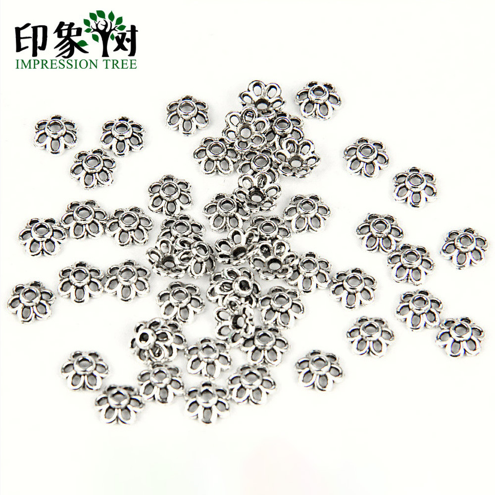 50pcs 6mm Zinc Alloy Silver Flower Star Spacer End Beads Caps Charms For Jewelry Making Bracelet Accessories 854