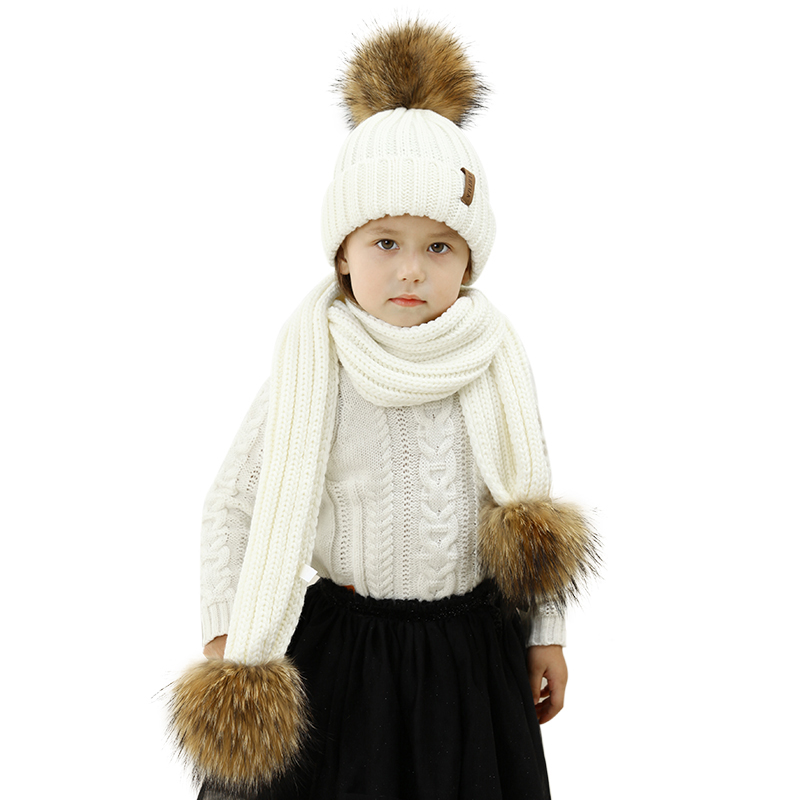 FURTALK Raccoon fur pom pom hat and scarf set double pom pom detail chain necklace