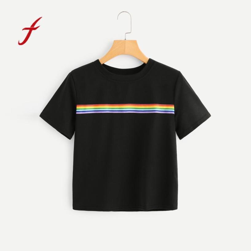 Feitong Summer 2018 New Arrival Women's Summer Rainbow  Block Striped Crop Top School Girl Teen T shirts