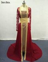 2017 שמלות ערב אדום ישר כיכר מחשוף ארוך הרכבת לטאטא אורך רצפת שרוולי זהב פאייטים חגורת המפלגה לנשף שמלות