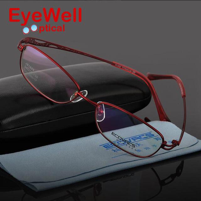 Nuevas mujeres titanium anteojos señora titanium gafas marco óptico marco de fotograma completo 81659
