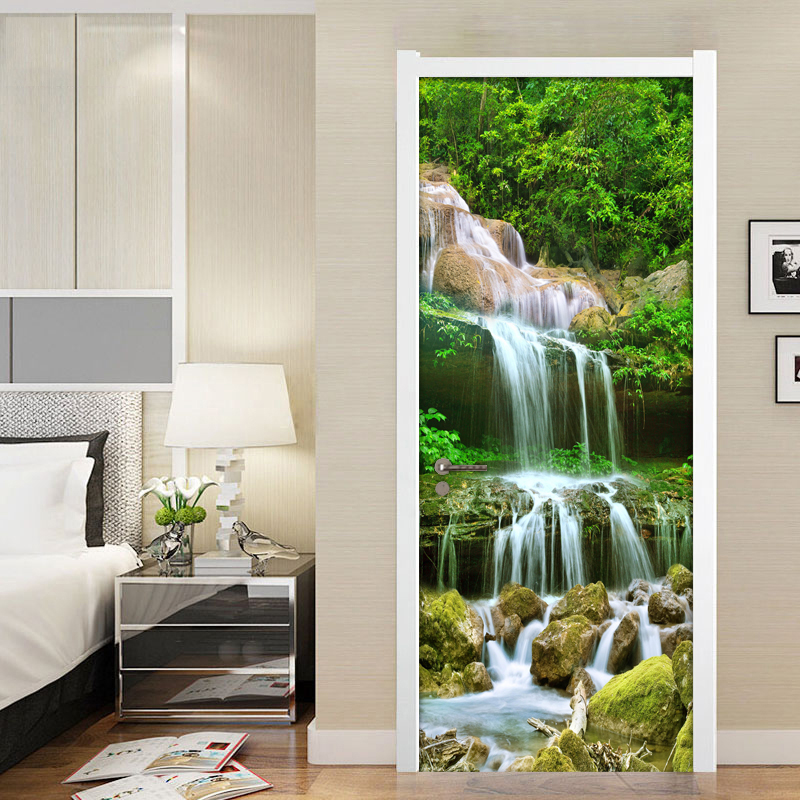 все цены на Mountain Water Waterfall Nature Landscape Wall Painting Living Room Bedroom Door Sticker PVC Self Adhesive Photo Mural Wallpaper