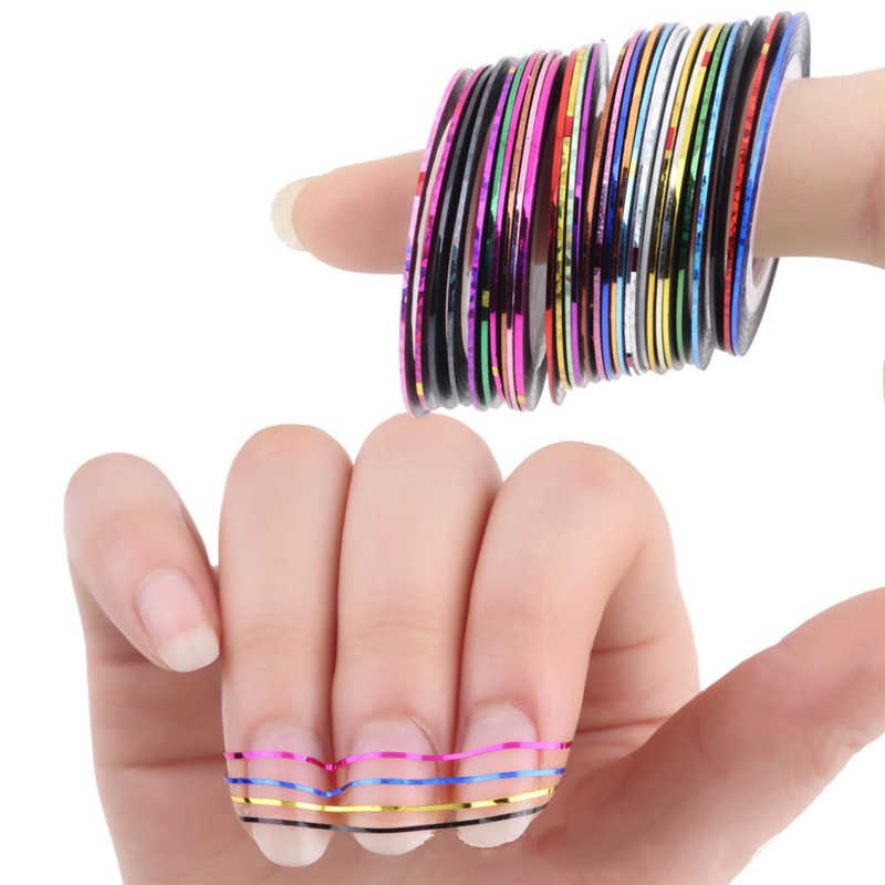 10pcs/18pcs/30pcs Roll Nail Art Gold Silver Stripping Tape Line Strips Decor Tools 0.5mm 20m Nail Sticker DIY