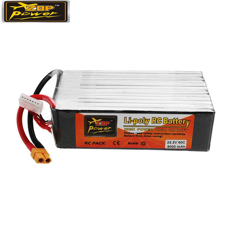 ZOP POWER 22.2V 8000mAh 60C 6S Lipo Battery Rechargeable With XT60 Plug Connector For RC Model Multicopter Part Accs image