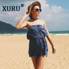 XURU summer new best selling jumpsuit tube top word collar off-the-shoulder shorts bohemian beach holiday