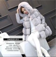 Smlxlxxl كبيرة الحجم 2017 الجديدة الشتاء المرأة الفراء سترة معطف طويل الأكمام للإزالة تقليد الصلبة الثعلب الفراء هوديي أبلى الملابس