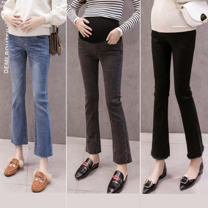 Spring Autumn Maternity Jeans Pregnancy Clothes Denim Trousers For Pregnant Women Plus Size Flare Jeans Maternity Denim Pants in Jeans from Mother Kids