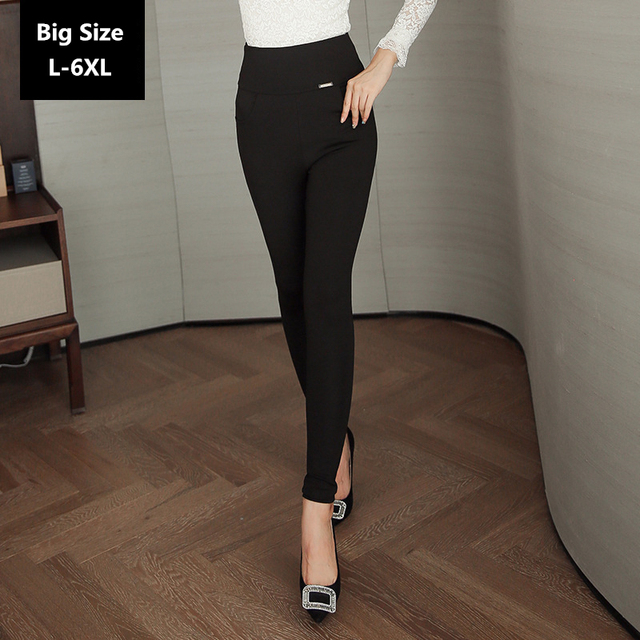 Women High Waist Leggings Autumn Female Thin Black Pants Large Size L-6XL 016 New Autumn Style High Elasticity Big Leggings