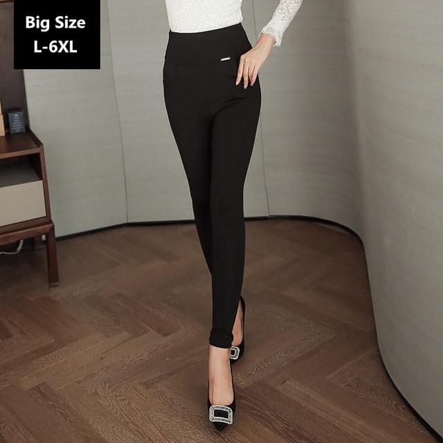 Women High Waist Leggings Autumn Female Thin Black Pants Large Size L-6XL 016 New Autumn Style High Elasticity Big Leggings
