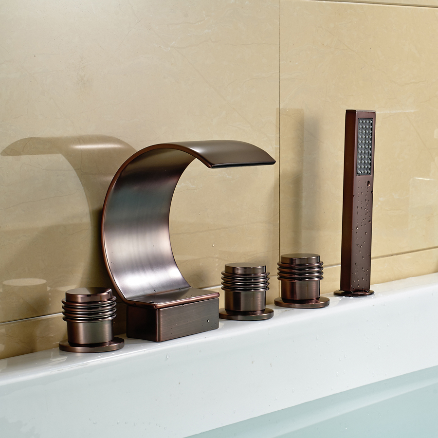 Oil Rubbed Bronze Waterfall Tub Faucet 5 Holes Bath Mixer Tap With Hand Sprayer In Shower