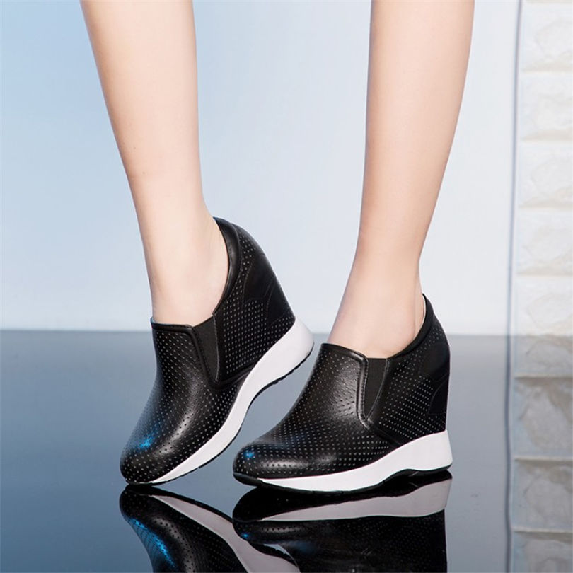 Breathable Trainers Women Shoes Cow Leather High Heel Evening Pumps Wedges Platform Summer Sneakers Tennis Shoes Punk Sandals