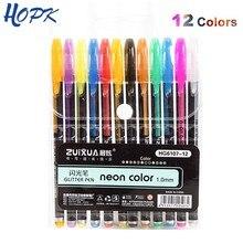 Ensemble de stylos à Gel 12 couleurs, métallique, Pastel, paillettes, marqueur de papeterie scolaire, bricolage, croquis, peinture, dessin, stylo Doodling, cadeaux pour enfants