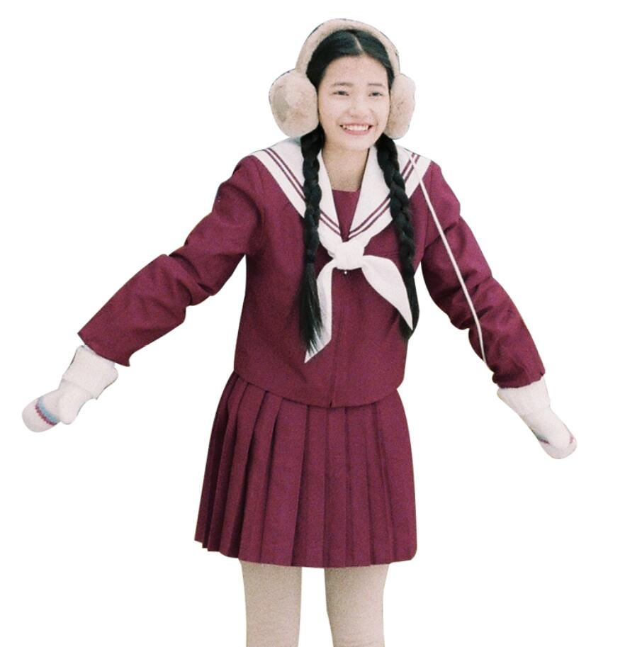 Winter Japanese girls school student uniform sweet JK Sailor uniform set top+skirt cosplay College Soft sister Navy uniforms