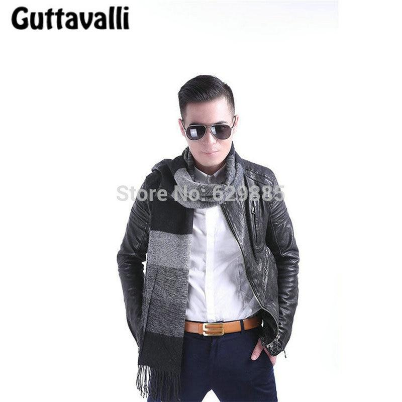 Guttavalli Fashion Men Big Square Plaid Long Tassel Shawl Autumn Stripe Geometric Scarves Winter Chevron Tassels Cashmere Scarf
